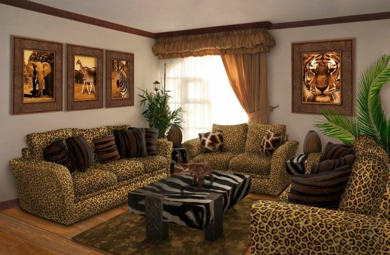 Wohnzimmer Leopardenmuster Bilder Safari