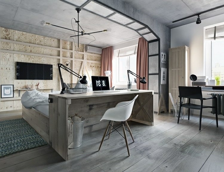 Home Office einrichten industrieller Stil