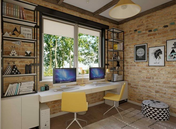 Home Office einrichten für zwei Schreibtisch Fenstersims
