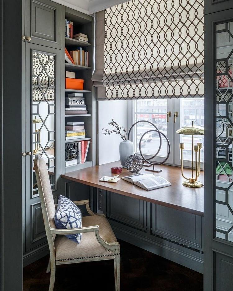 Schreibtisch am Fenster Holzplatte