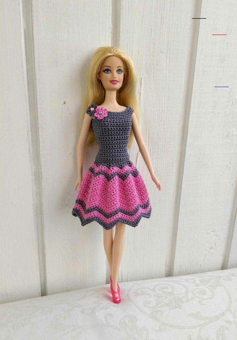 Barbie Kleidung selber machen modisches Kleid stricken