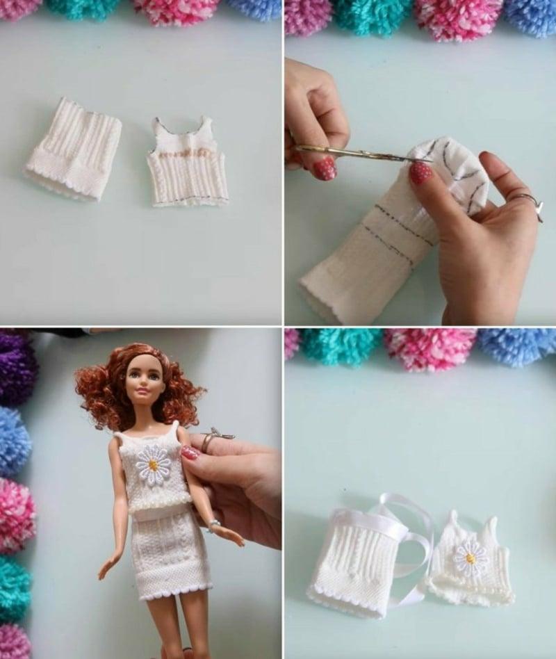 Socke upcyceln Barbie Kleid