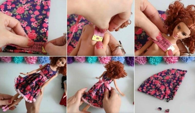 Barbie Kleid nähen aus Stoff