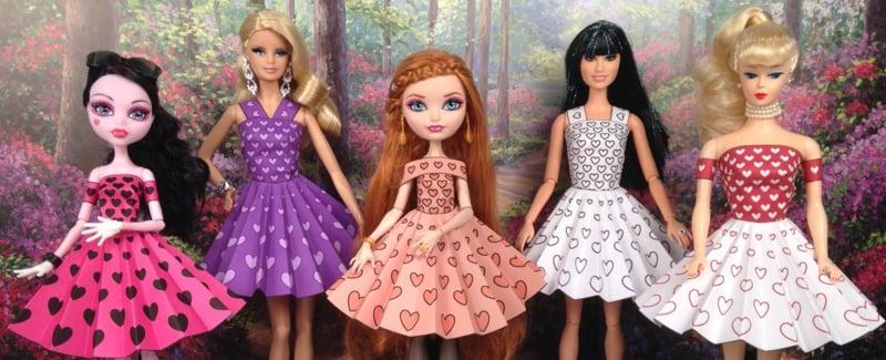 Barbie Kleidung selber machen aus Papier