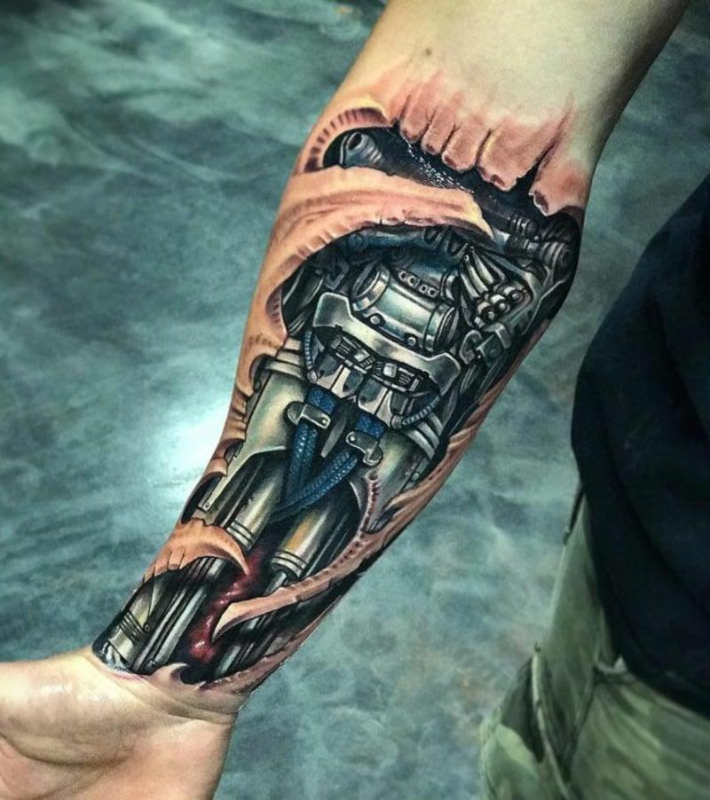 Tattoo Unterarm Biomechanik