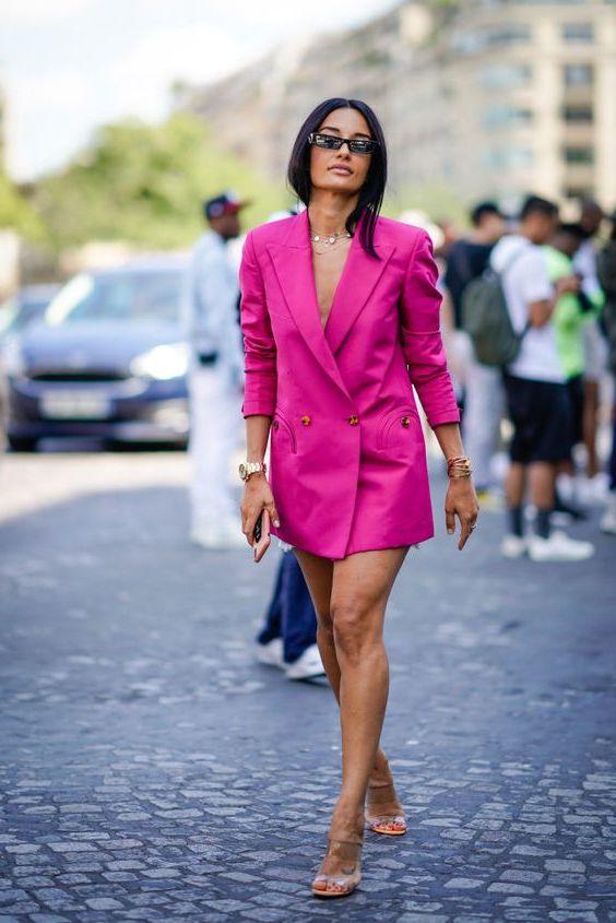 Eleganten Blazer Outfit - Blazer als Kleid tragen