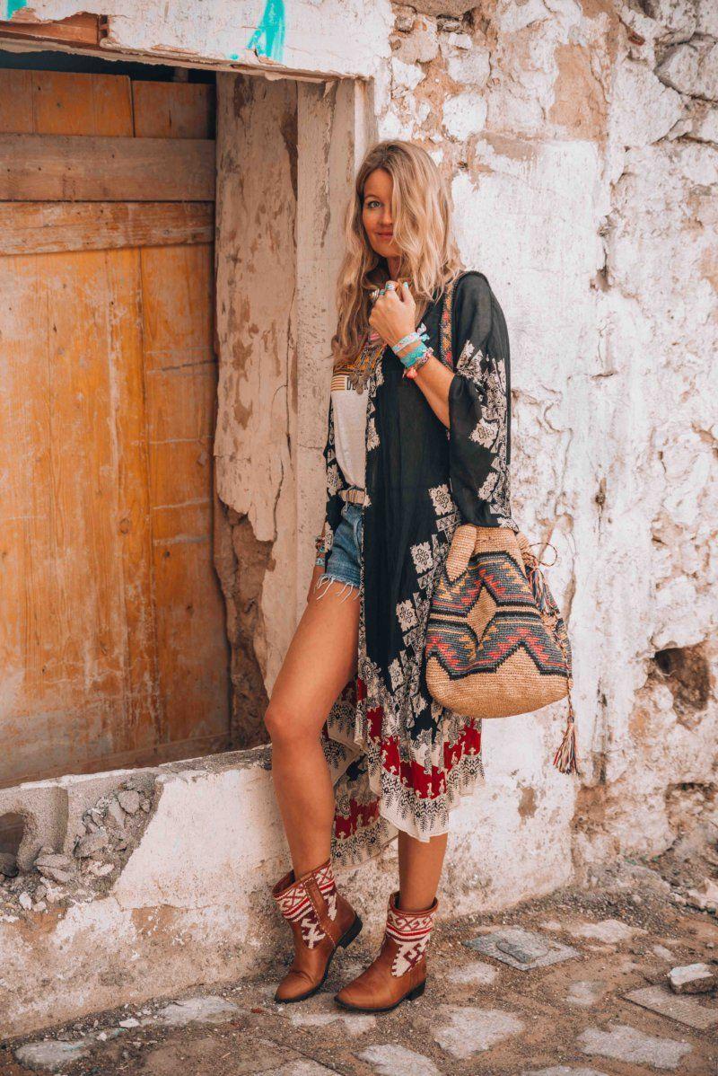 Hippie Stil Ethno Weste große Tasche