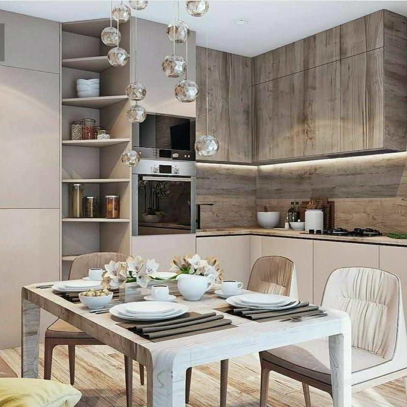 Küche modern braune Akzente