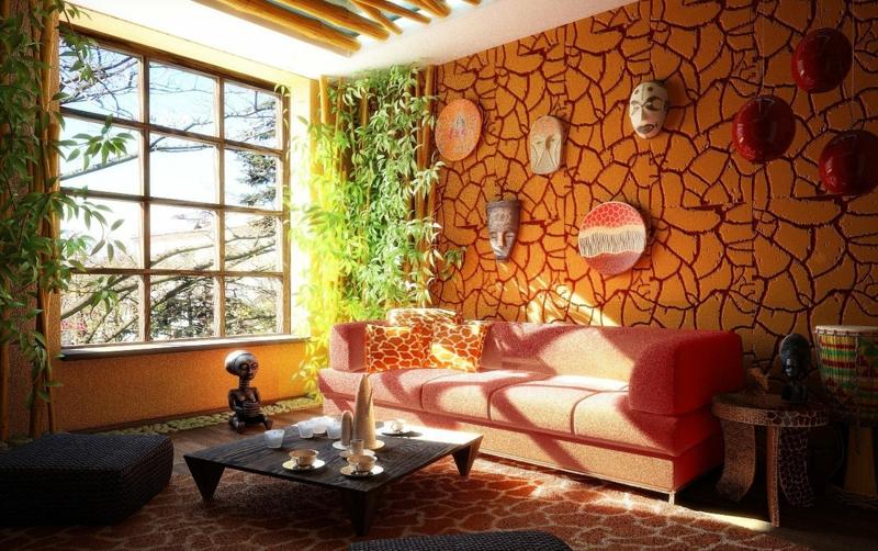 Wohnzimmer afrikanische Akzentwand Bambus