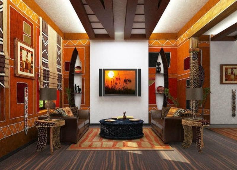 Wandgestaltung afrikanischer Stil gelb rot orange