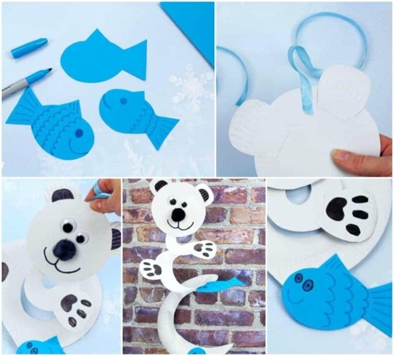 Spiralen aus Pappteller Eisbär machen