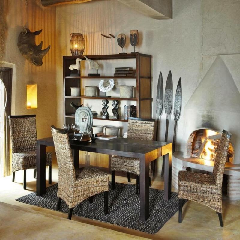 Esszimmer Rattan-Möbel afrikanische Deko