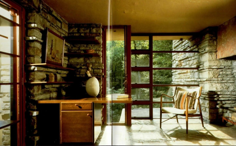 Fallingwater House Interieur Glas und Naturstein