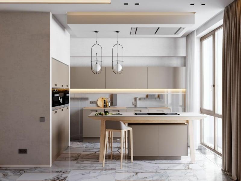 modische Küche Farbe Cappuccino