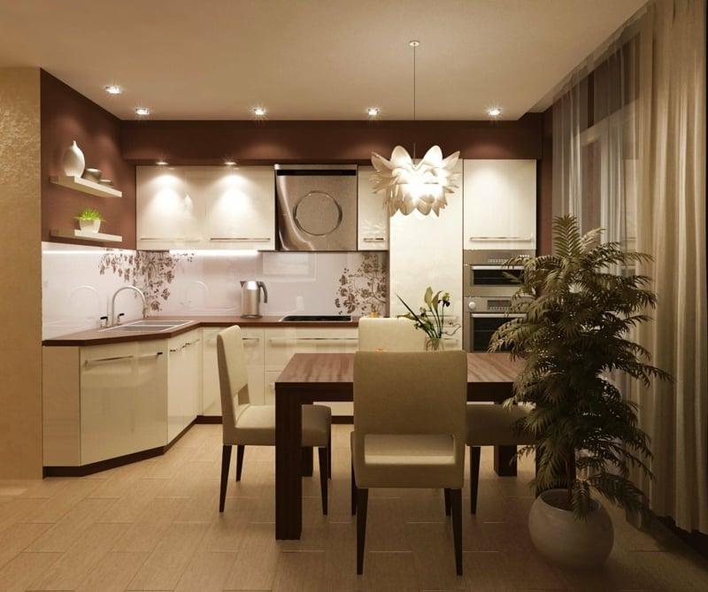 Küche und Esszimmer warme Brauntöne