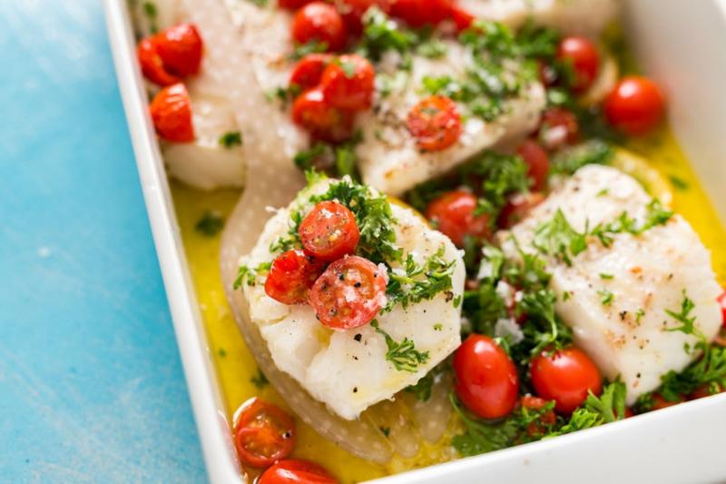 gebackener Fisch mit Cherry-Tomaten