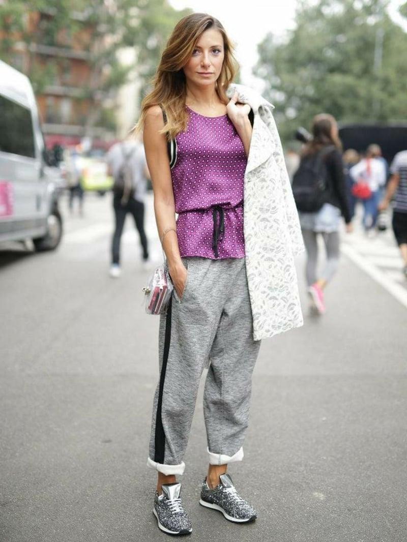 Jogginghose Outfit lila Top