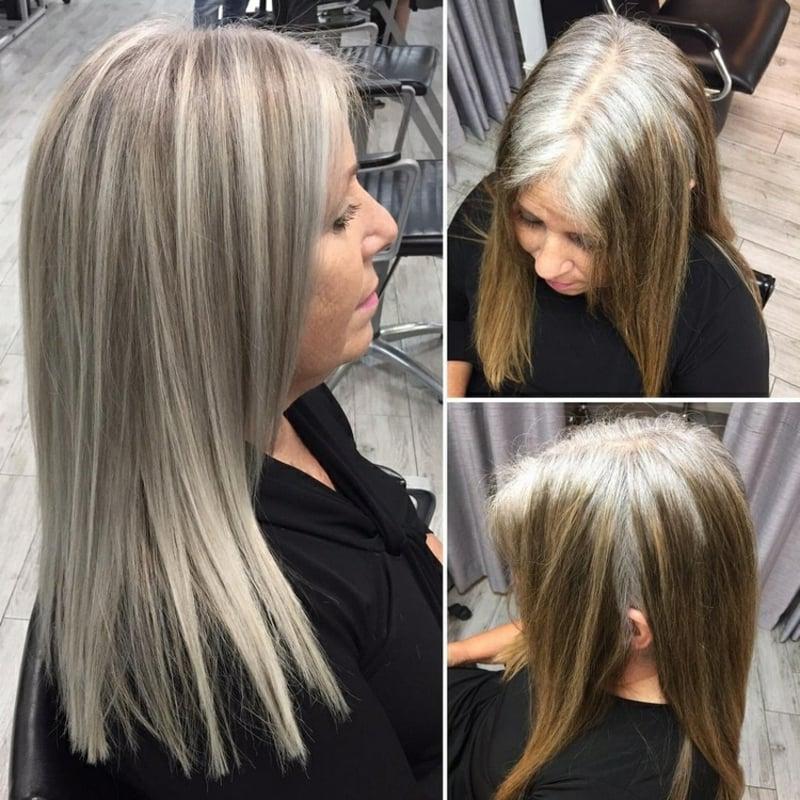 grauer Haaransatz verstecken elegante Ideen