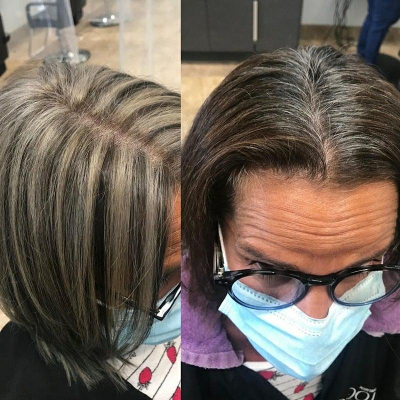 graue Haare mit Strähnchen versehen Tipps