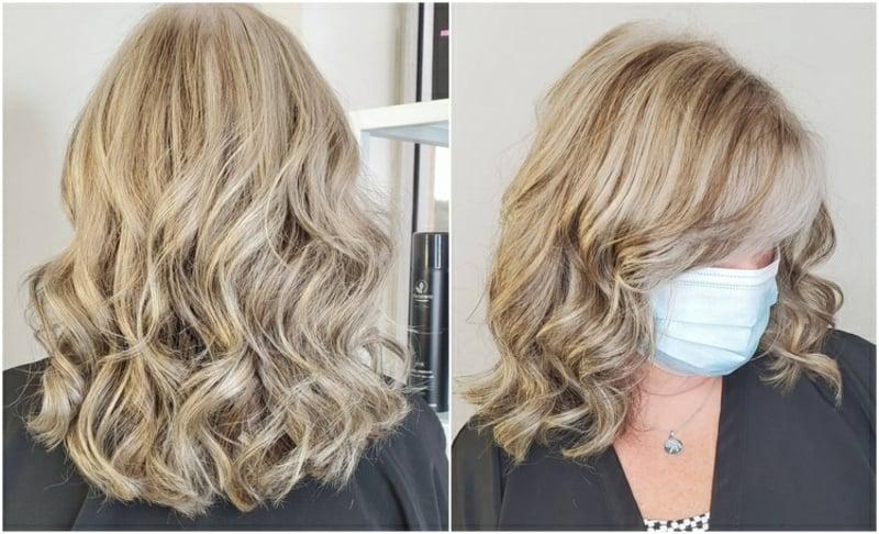 graue Haare blondieren Lockenfrisur