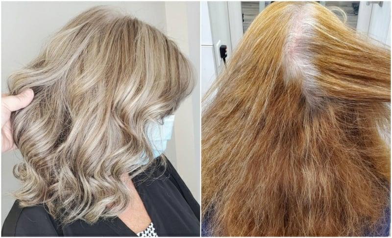 graues Haar colorieren Blond