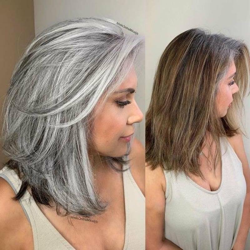 Haarfarbe Salz und Pfeffer stilvoll