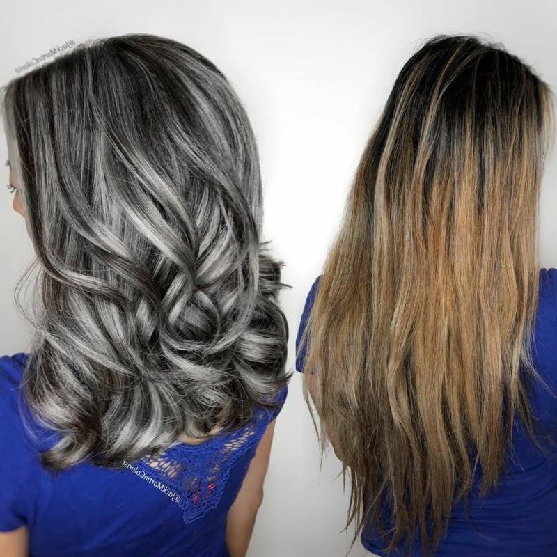 Graue Haare mit Strähnchen aufpeppen Haarfarbe Salz und Pfeffer