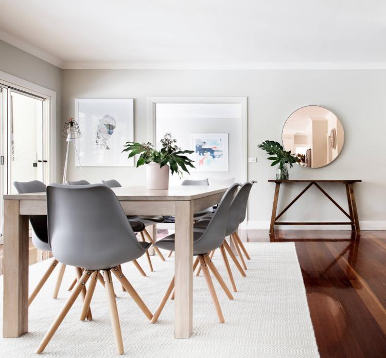 Designer-Stühle Esstisch grau