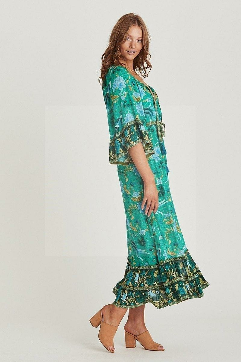 Boho Kleid florale Motive breit