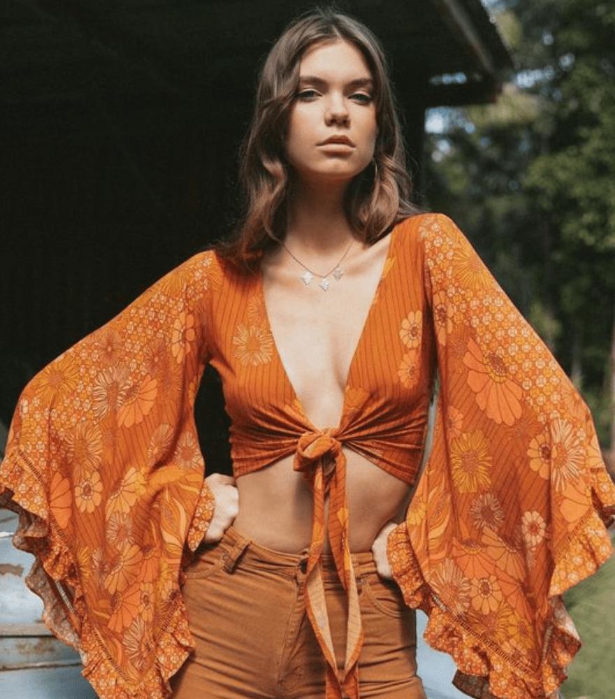 Hippie Mode für Damen Oberteil in Orange breit