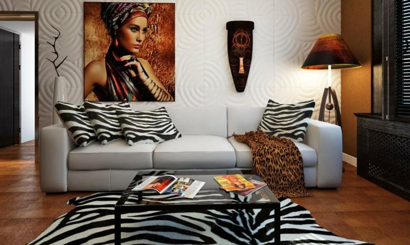 stilvolles Wohnzimmer Kisen Teppich Zebra-Muster