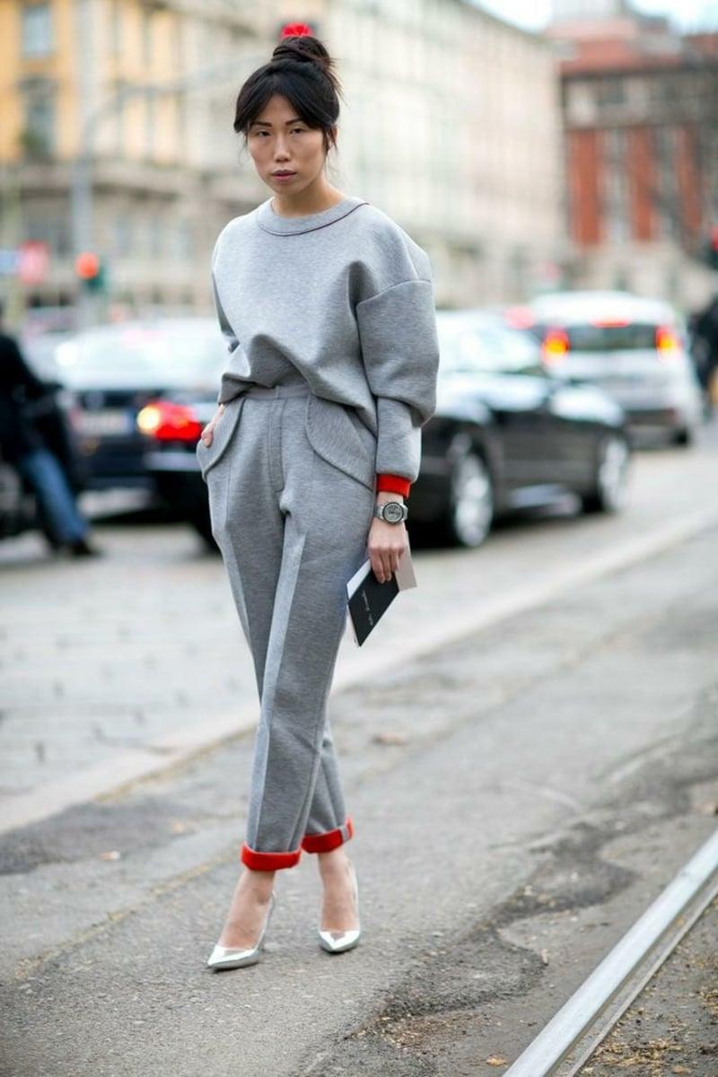 Jogginghose Outfit in Grau