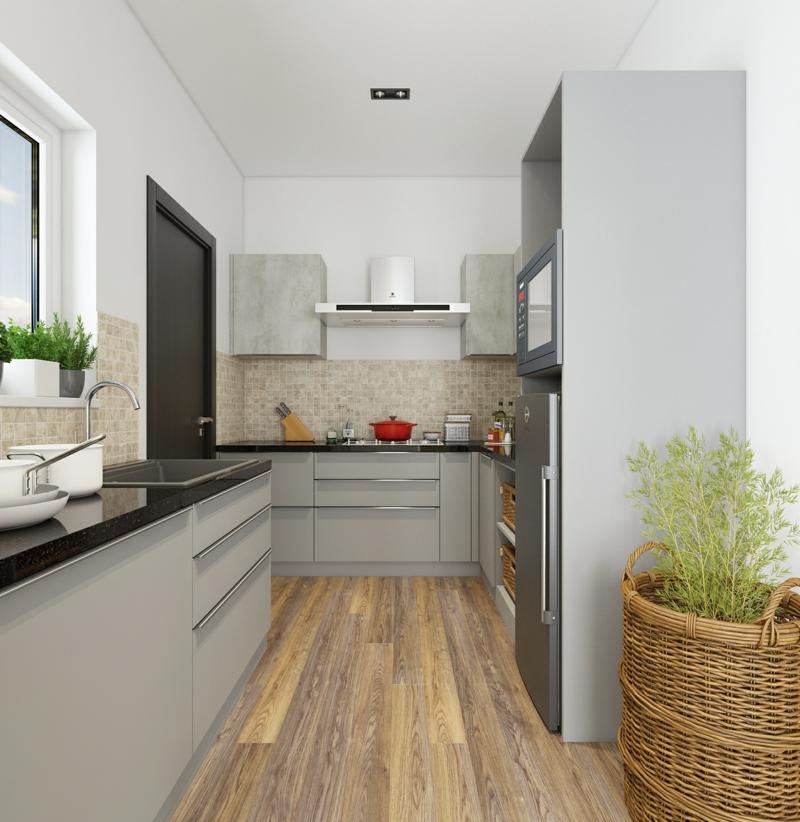 minimalistische Küche praktische Möbel in Grau