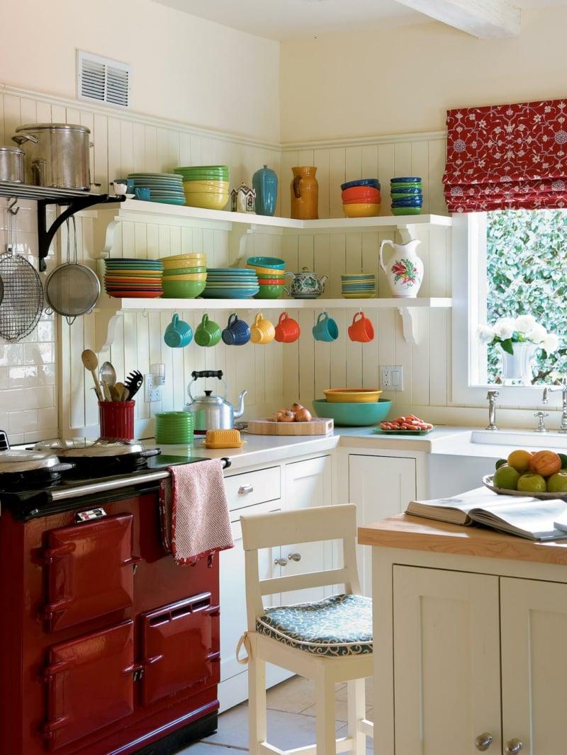 Küche dekorieren Tipps bunte Schüsseln Keraik
