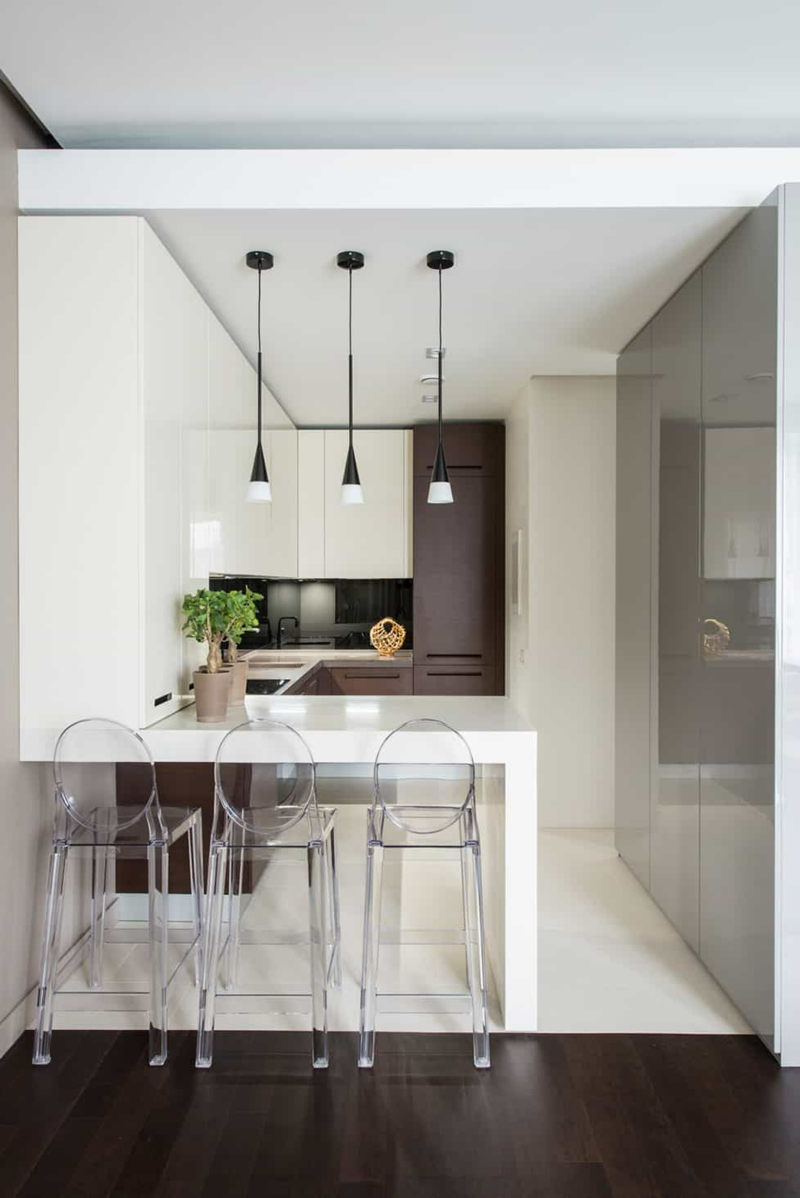 kleine Küche minimalistisch Designer-Barstühle
