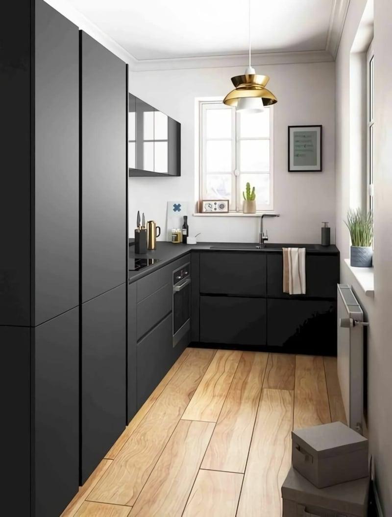 elegante Küche schwarz und weiß