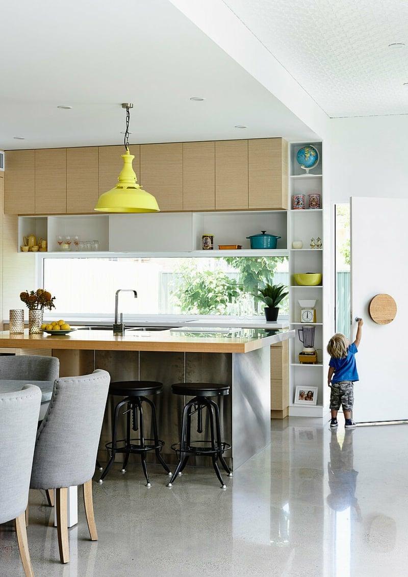 kleine Küche einrichten offener Wohnraum