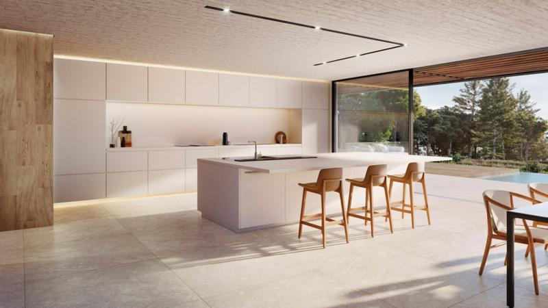 offene Küche einrichten minimalistisch