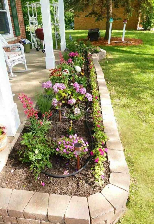 Beet bepflanzen Vordergarten Steineinfassung