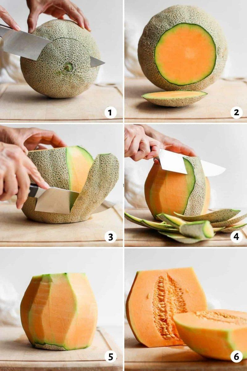 Melone schneiden Schritt für Schritt