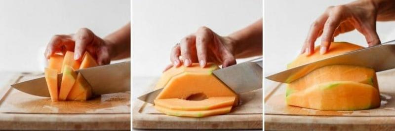 Melone schneiden Bilderanleitung