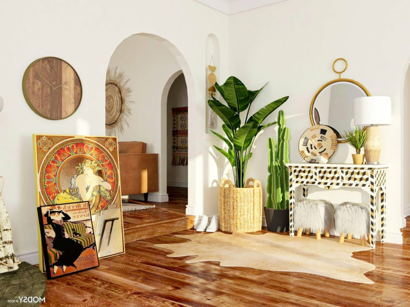 Wohnzimmer Deko Naturmaterialien sehr elegant