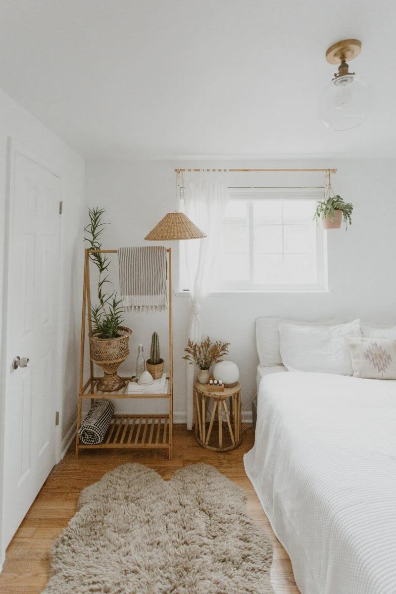 Dekorieren mit Naturmaterialien Schlafzimmer Holzständer