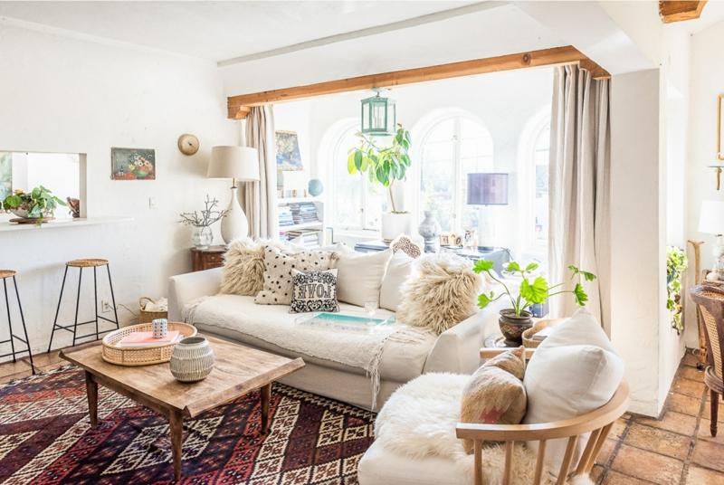 Dekorieren mit Naturmaterialien Wohnzimmer gemütlich