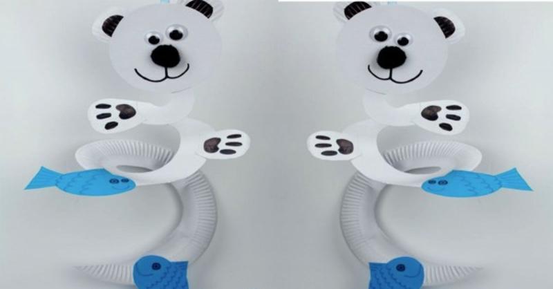 Spiralen aus Pappteller Eisbären