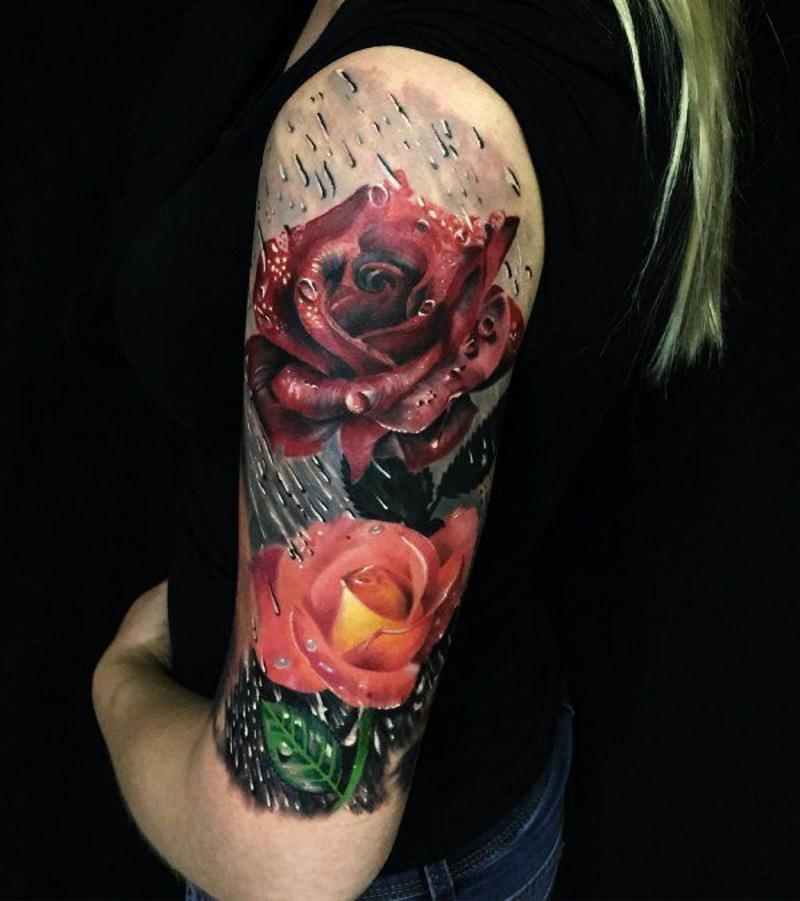 3D Tattoos Rosen mit Regenwasser