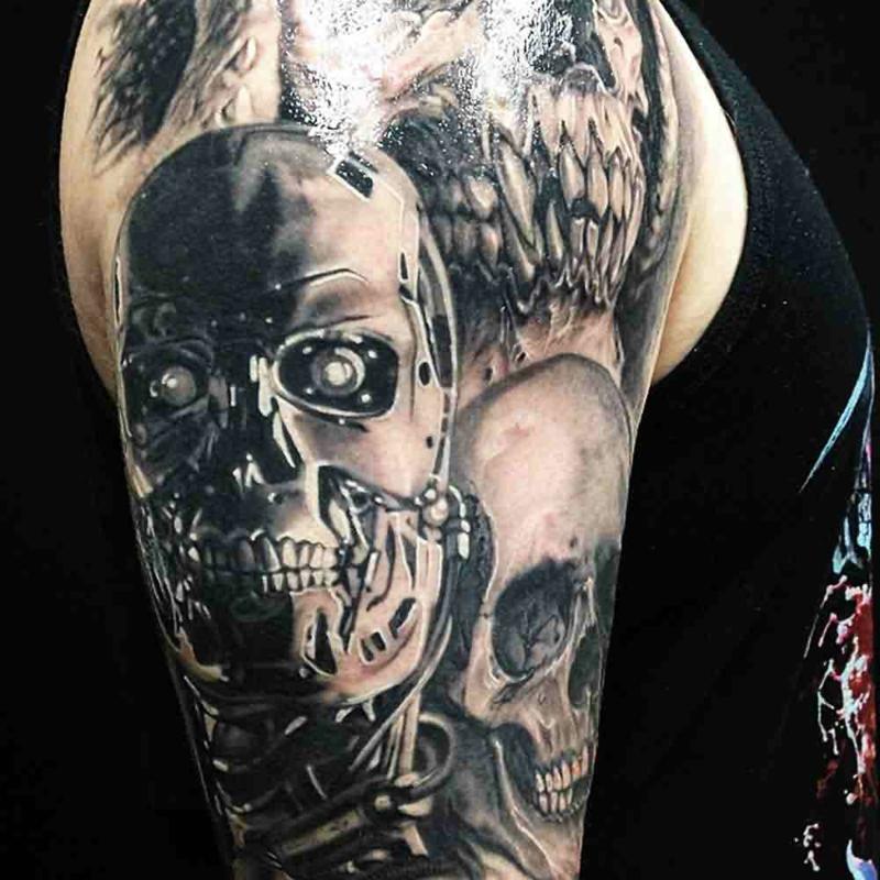 3D Tattoos für Männer Totenkopf
