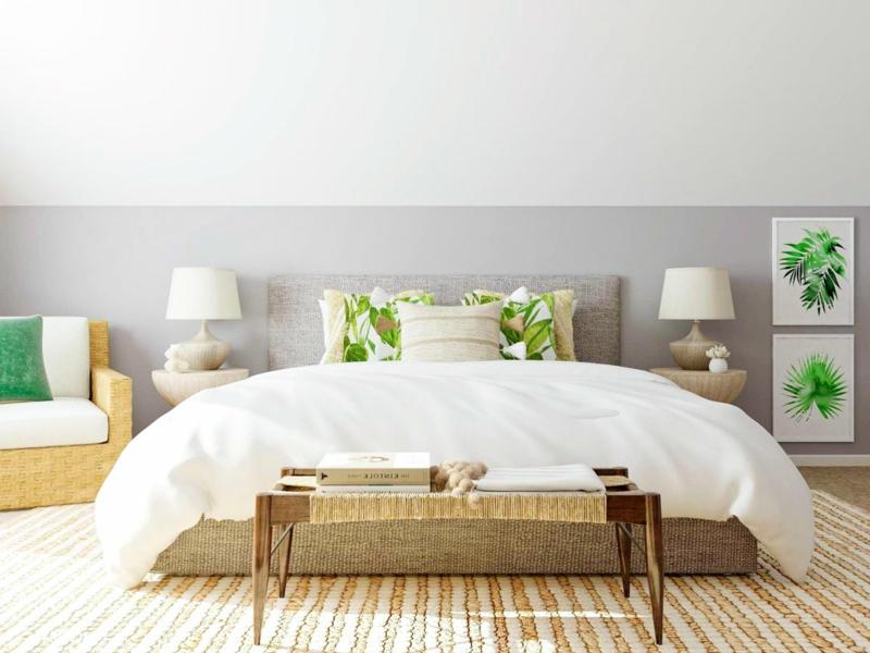 Schlafzimmer gestalten Naturfarben grün grau