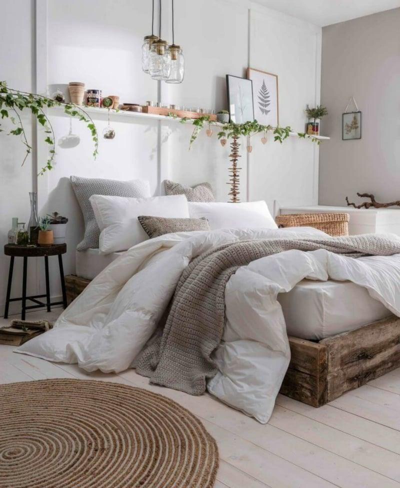 Schlafzimmer rustikal hölzernes Bett