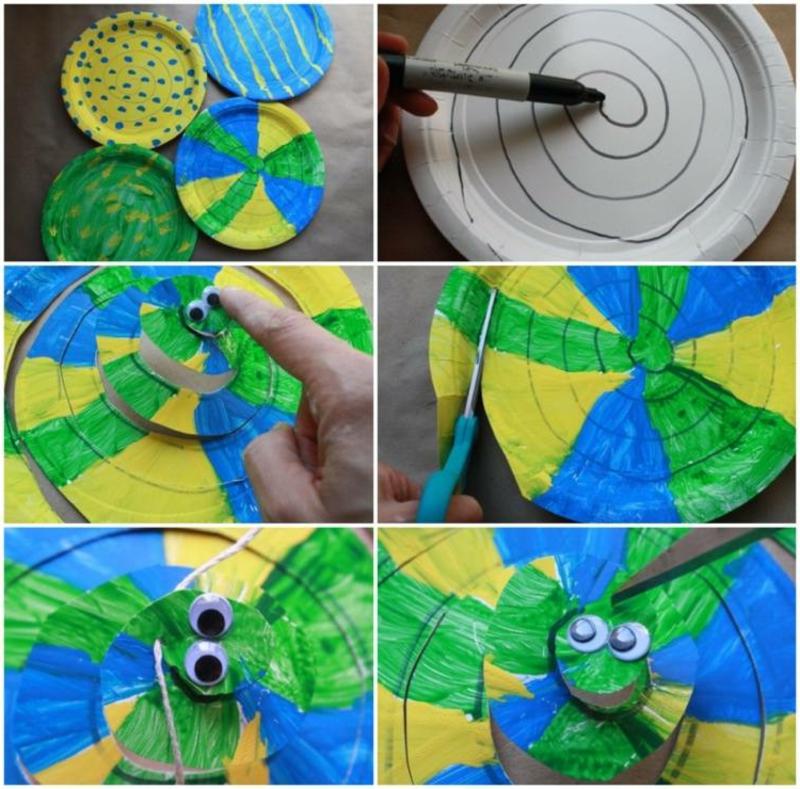 Spiralen aus Pappteller Schlange machen Schritt für Schritt